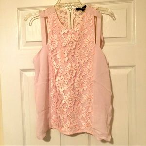French Connection Cut-Out Lace Pink Top - Size 8